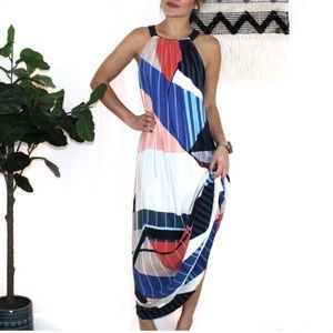ECRU 100% Silk Geometrical Maxi Dress